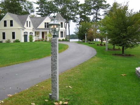 Granite Post with Lamp